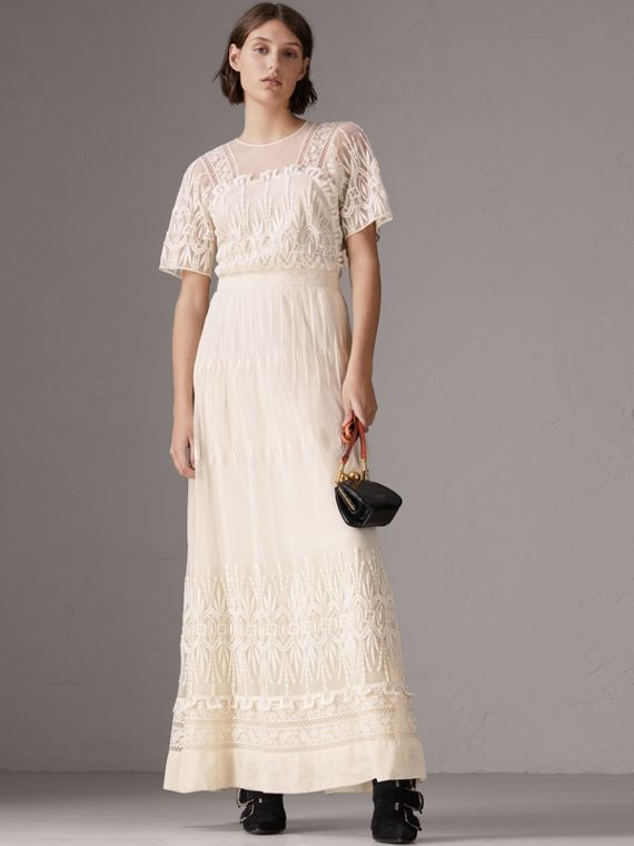 Embroidered Tulle Dress in Natural White