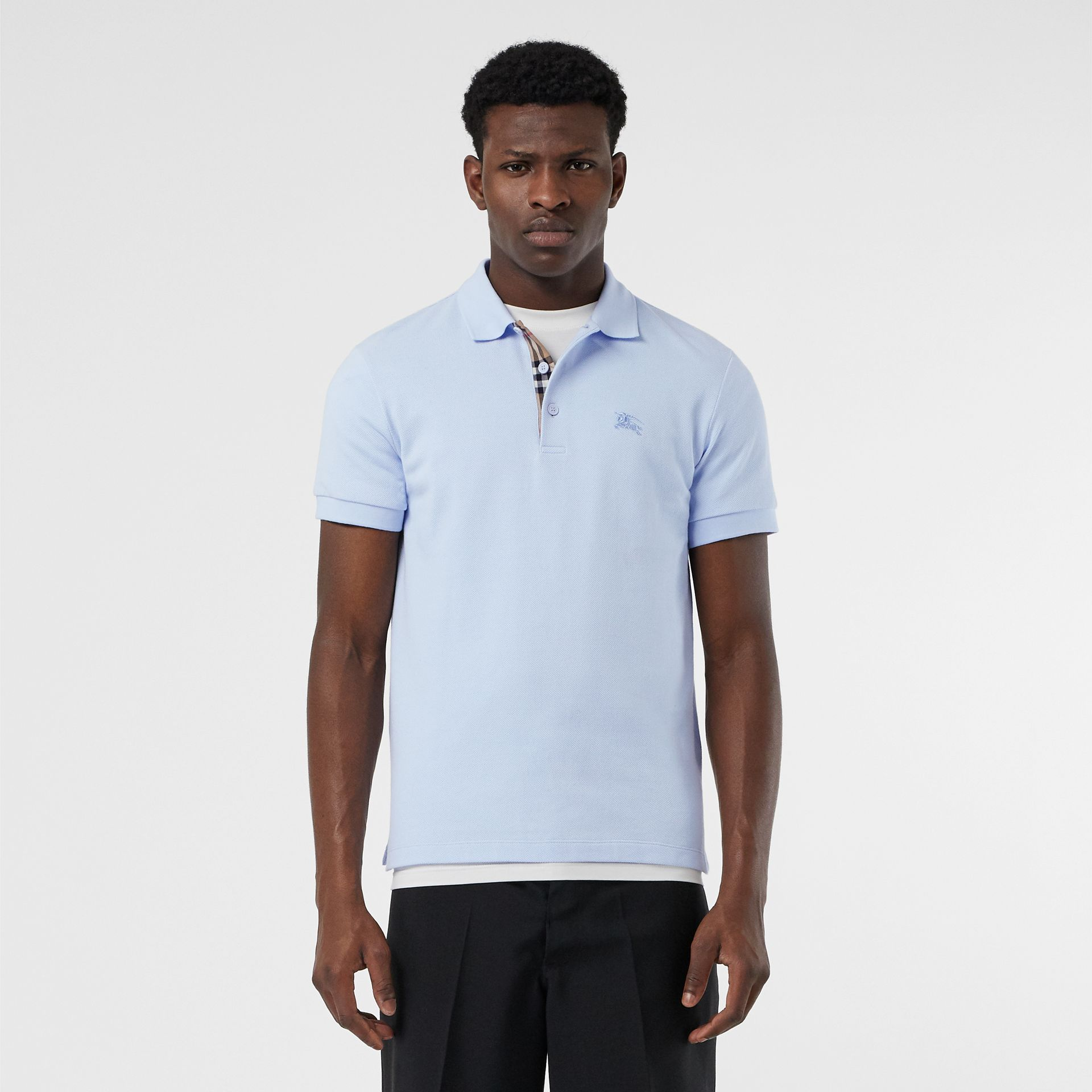 Check Placket Cotton Polo Shirt in Baby Blue - Men | Burberry - gallery image 0
