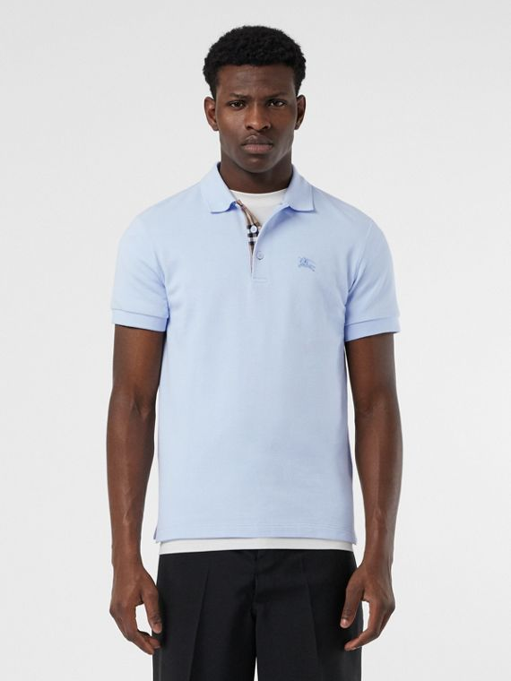 Check Placket Cotton Polo Shirt in Baby Blue