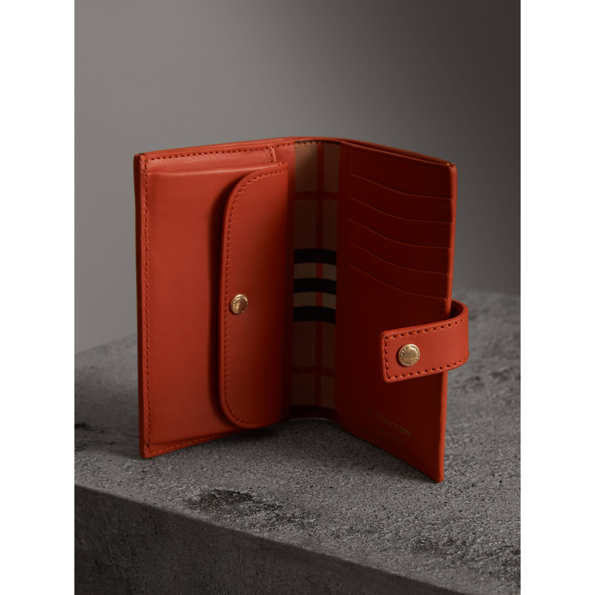 Vintage Check and Leather Folding Wallet in Clementine - Women | Burberry - gallery image 3