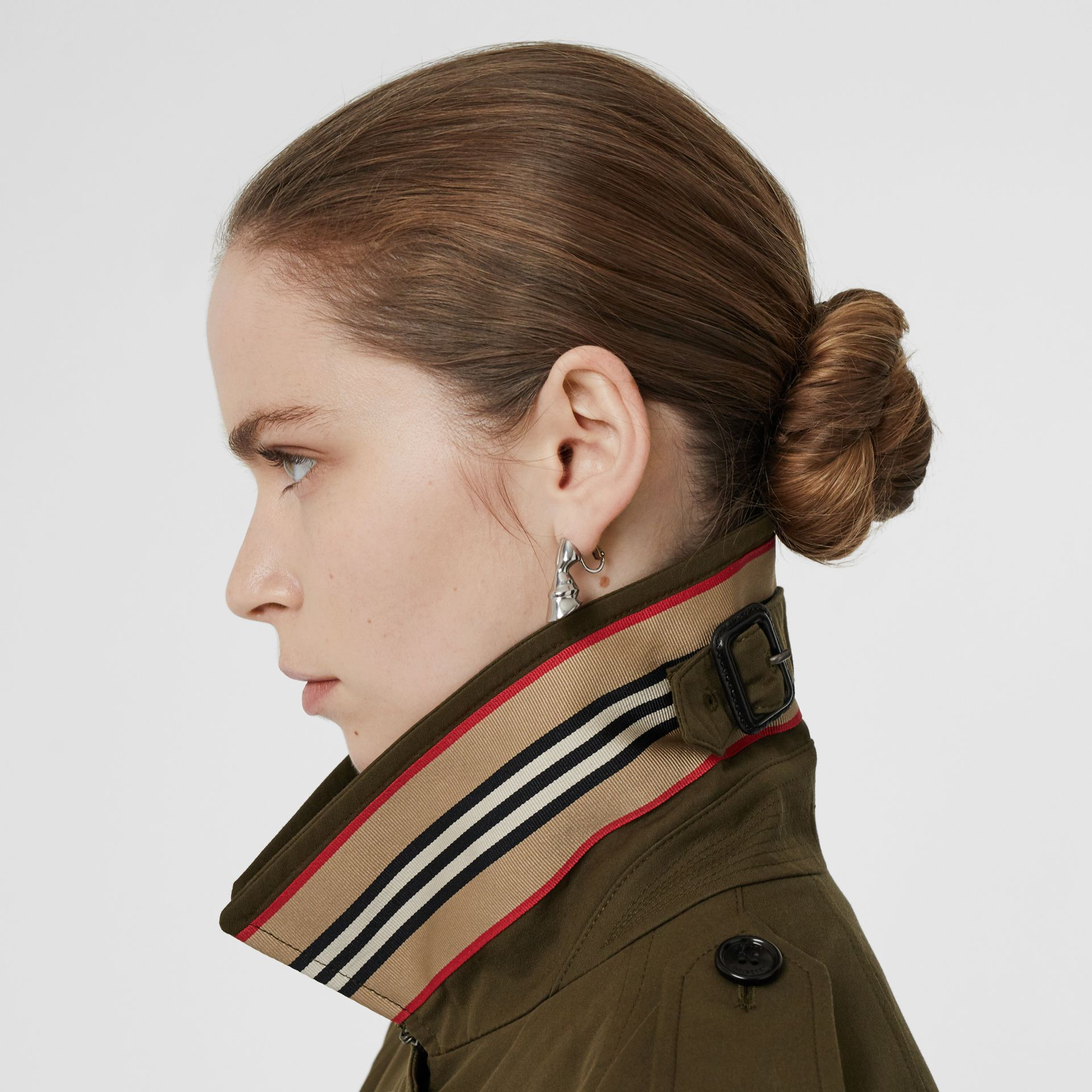 Tropical Gabardine Belted Car Coat in Dark Military Khaki - Women | Burberry - gallery image 1