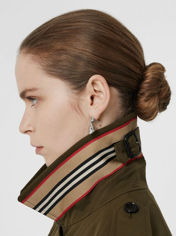 Tropical Gabardine Belted Car Coat in Dark Military Khaki - Women | Burberry - cell image 1