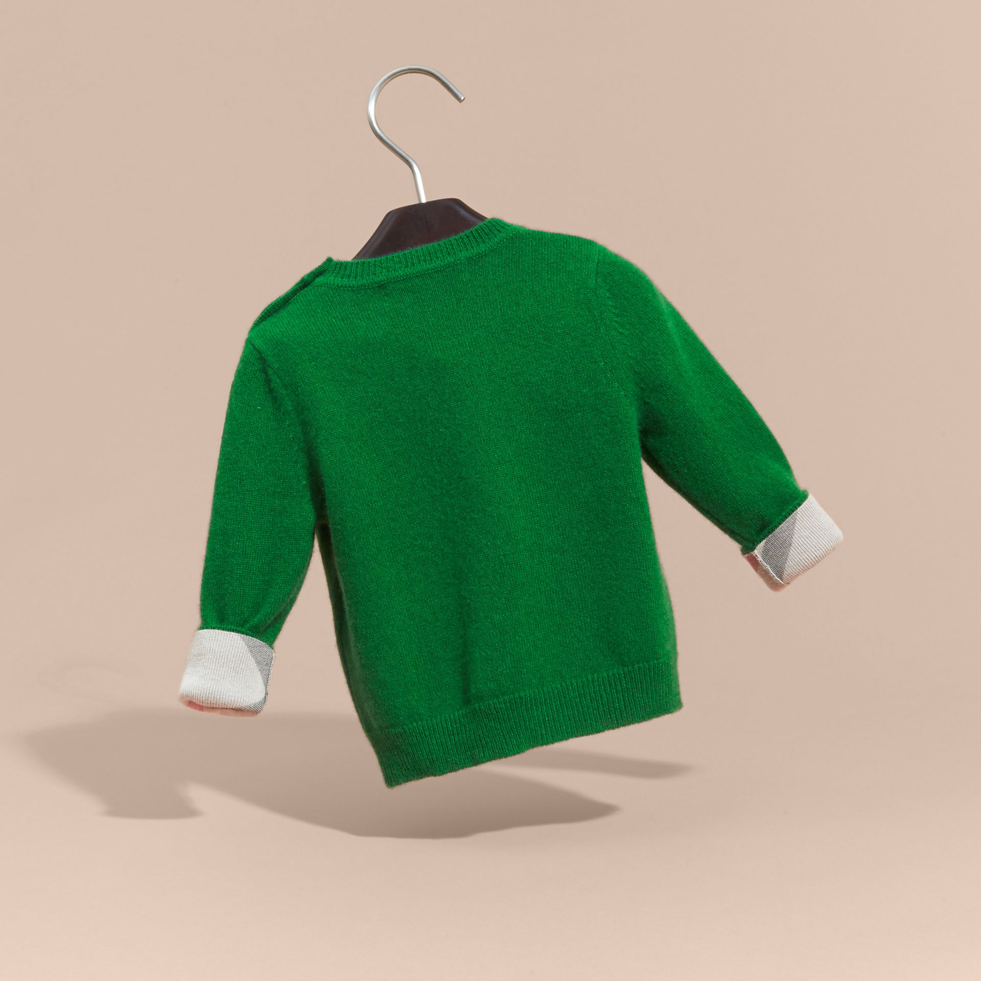Check Detail Cashmere Sweater in Bright Pigment Green - gallery image 4