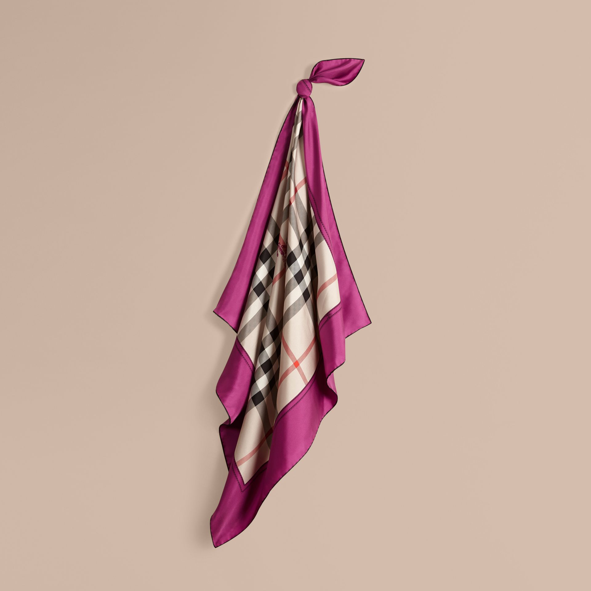 Magenta pink Horseferry Check Silk Square – Medium Magenta Pink - gallery image 1