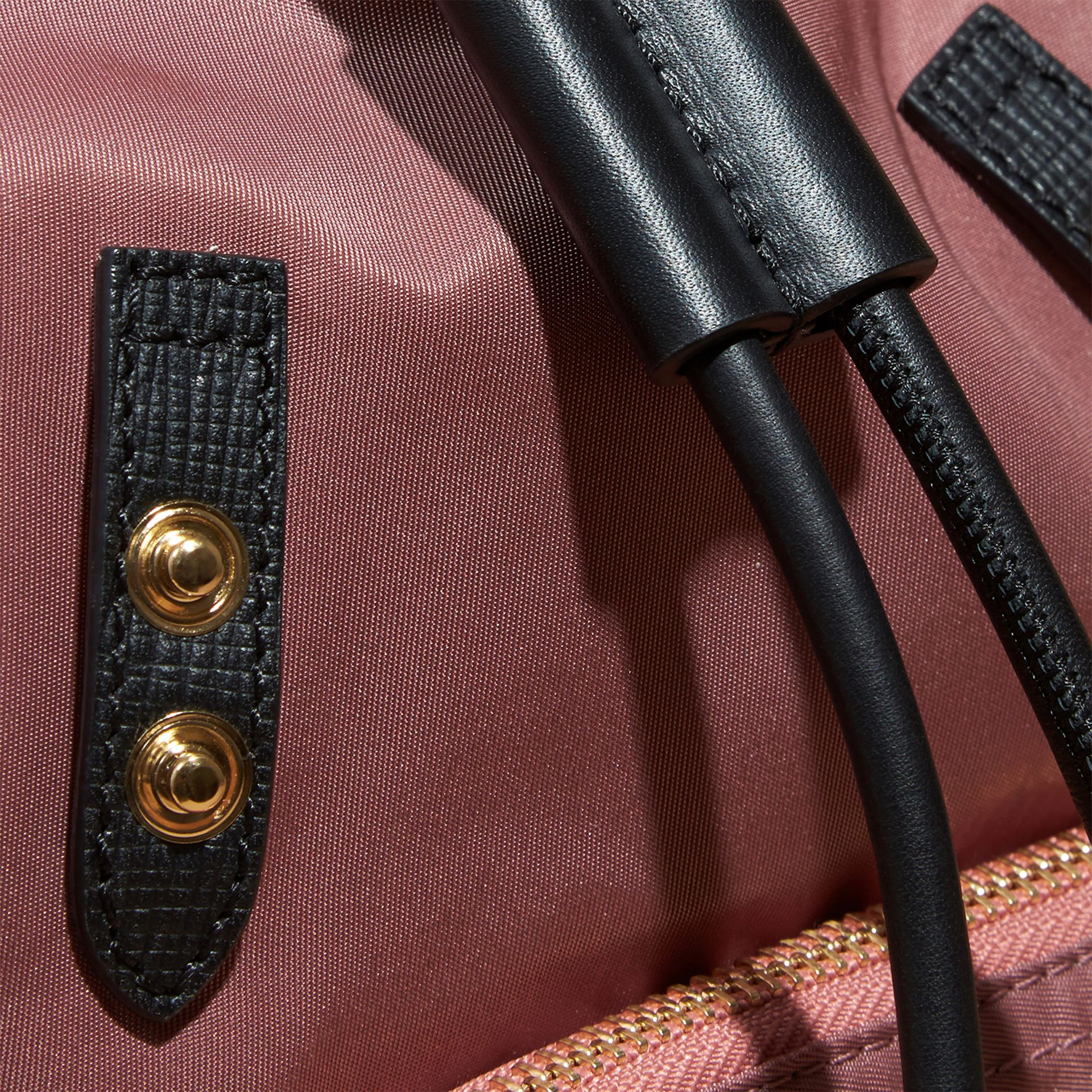The Small Rucksack in Technical Nylon and Leather Mauve Pink - gallery image 2