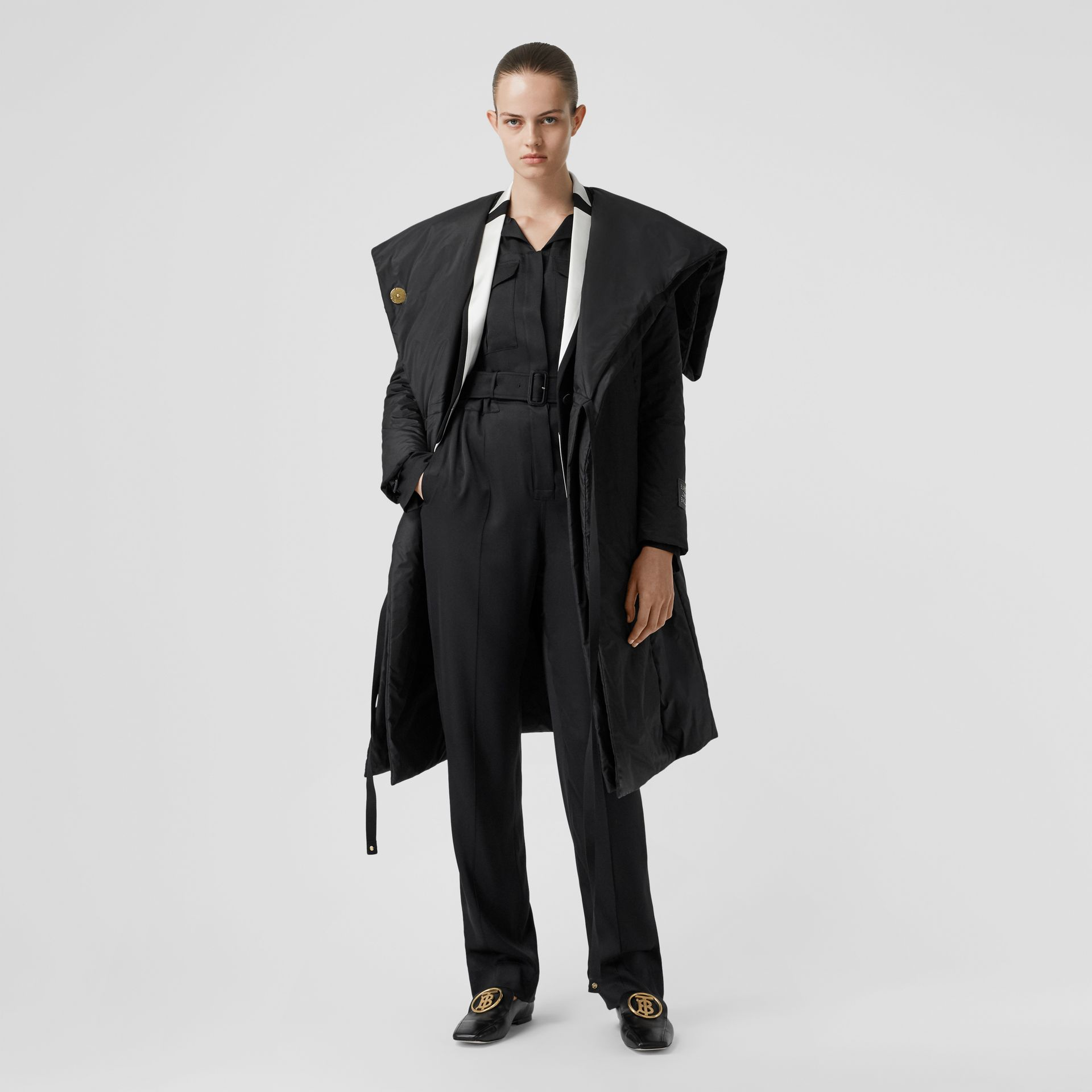 Cape Detail Silk Blend Wrap Coat in Black - Women | Burberry - gallery image 0