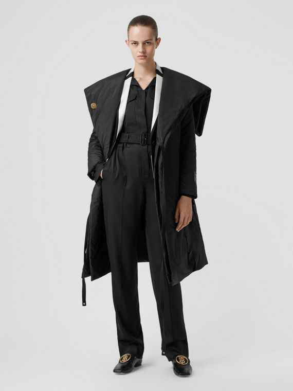 Cape Detail Silk Blend Wrap Coat in Black