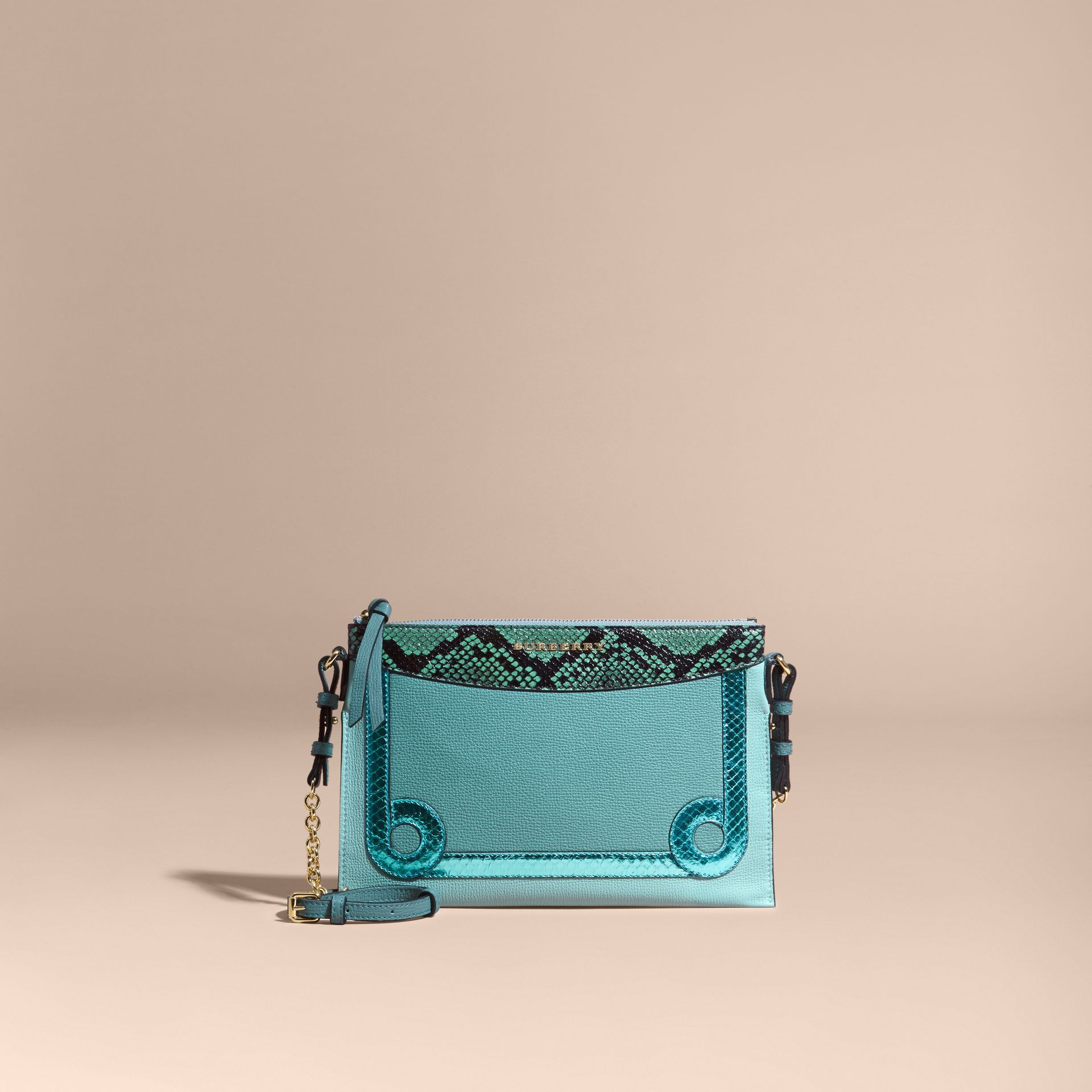 Celadon blue Leather and Snakeskin Clutch Bag Celadon Blue - gallery image 9