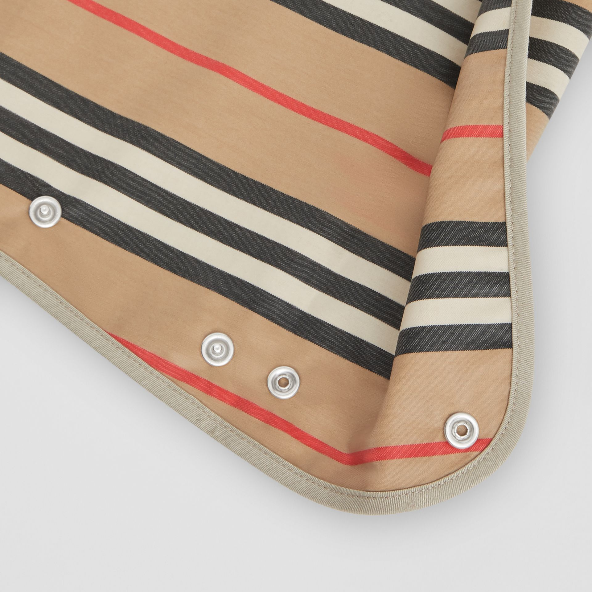 Coated Icon Stripe Cotton Baby Bib in Archive Beige - Children | Burberry United Kingdom - gallery image 1