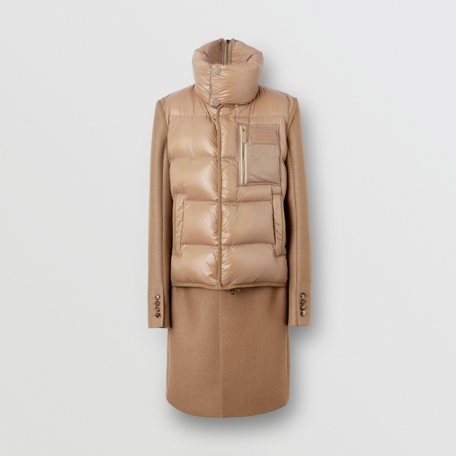 Down-filled Gilet Detail Camel Hair Tailored Coat - Men | Burberry United States - gallery image 3