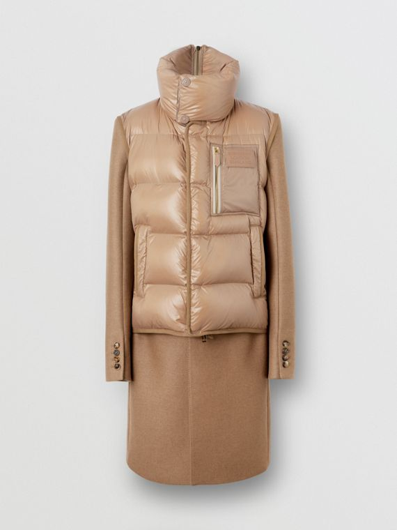 Down-filled Gilet Detail Camel Hair Tailored Coat