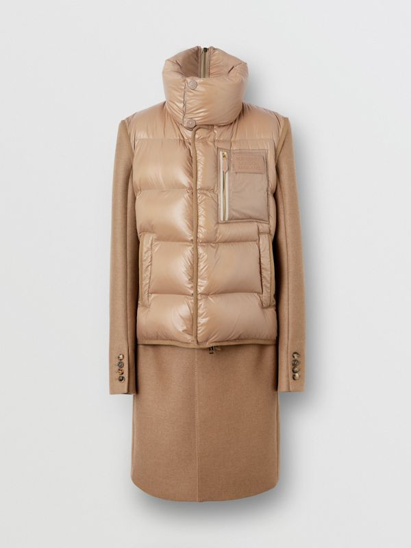 Down-filled Gilet Detail Camel Hair Tailored Coat - Men | Burberry - cell image 3