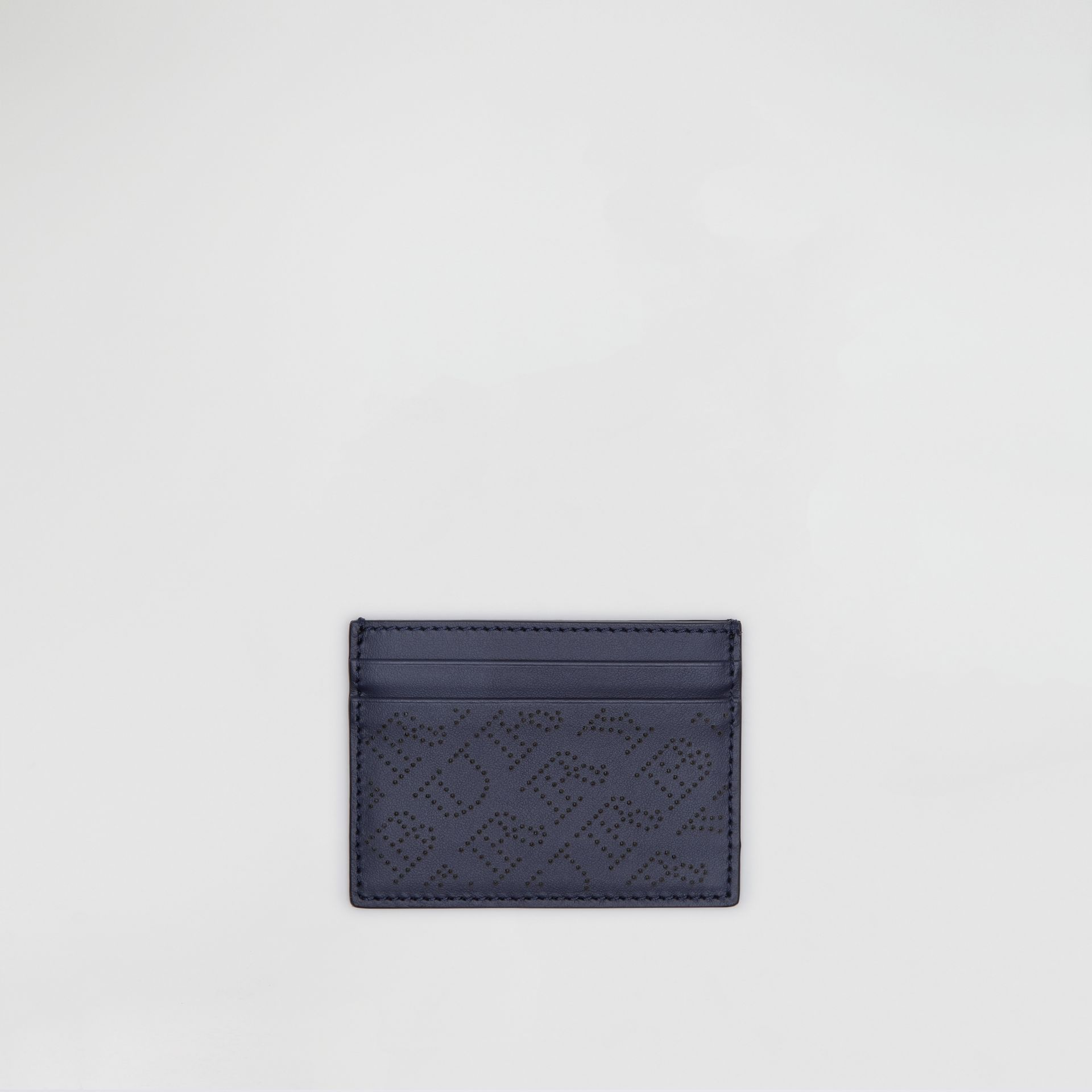 Perforated Logo Leather Card Case in Navy - Women | Burberry - gallery image 0