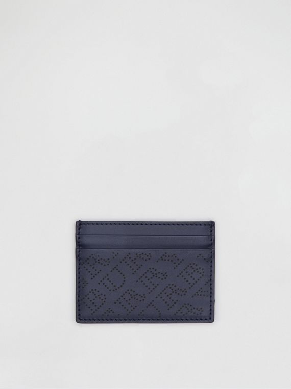 Perforated Logo Leather Card Case in Navy