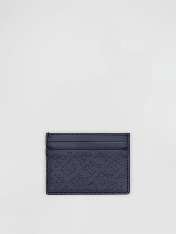 Porta-cartões de couro com logotipo perfurado (Azul Marinho)