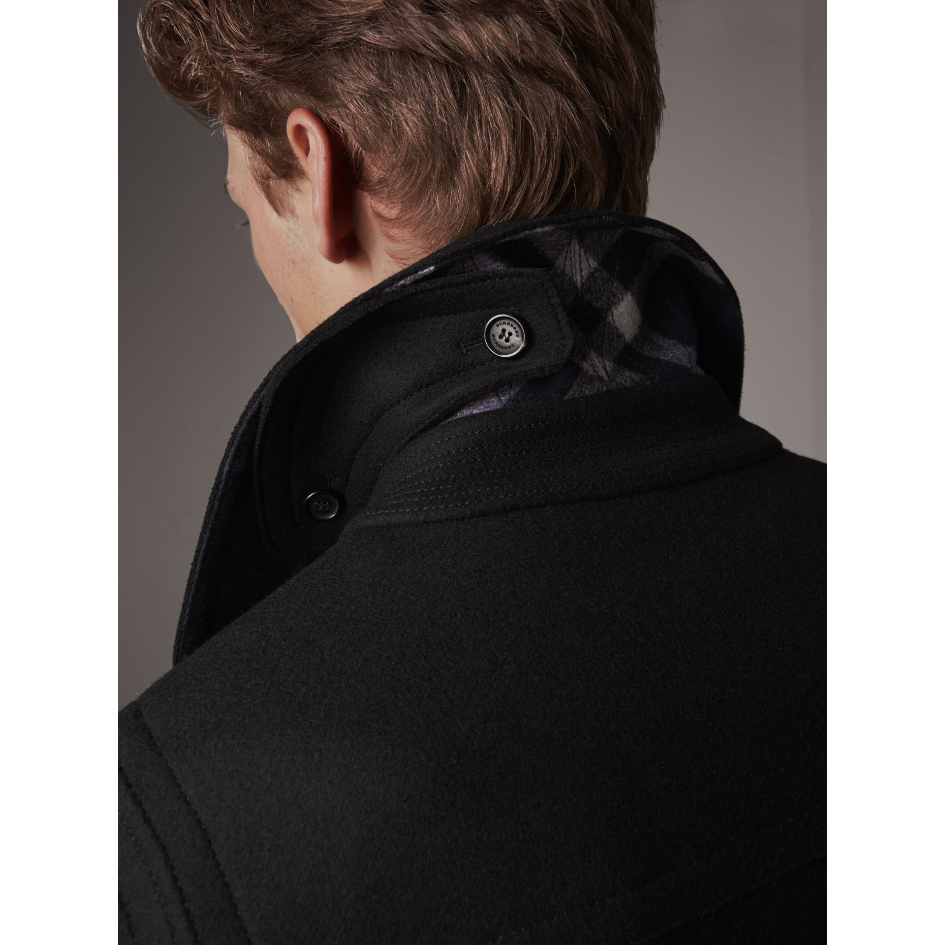 Wool Blend Duffle Jacket in Black - Men | Burberry - gallery image 4