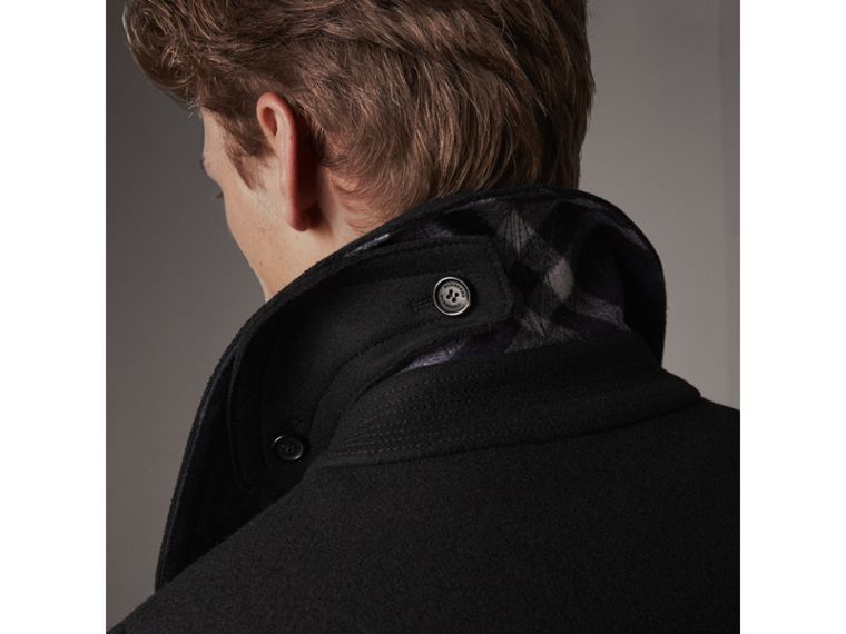 Wool Blend Duffle Jacket in Black - Men | Burberry - cell image 4
