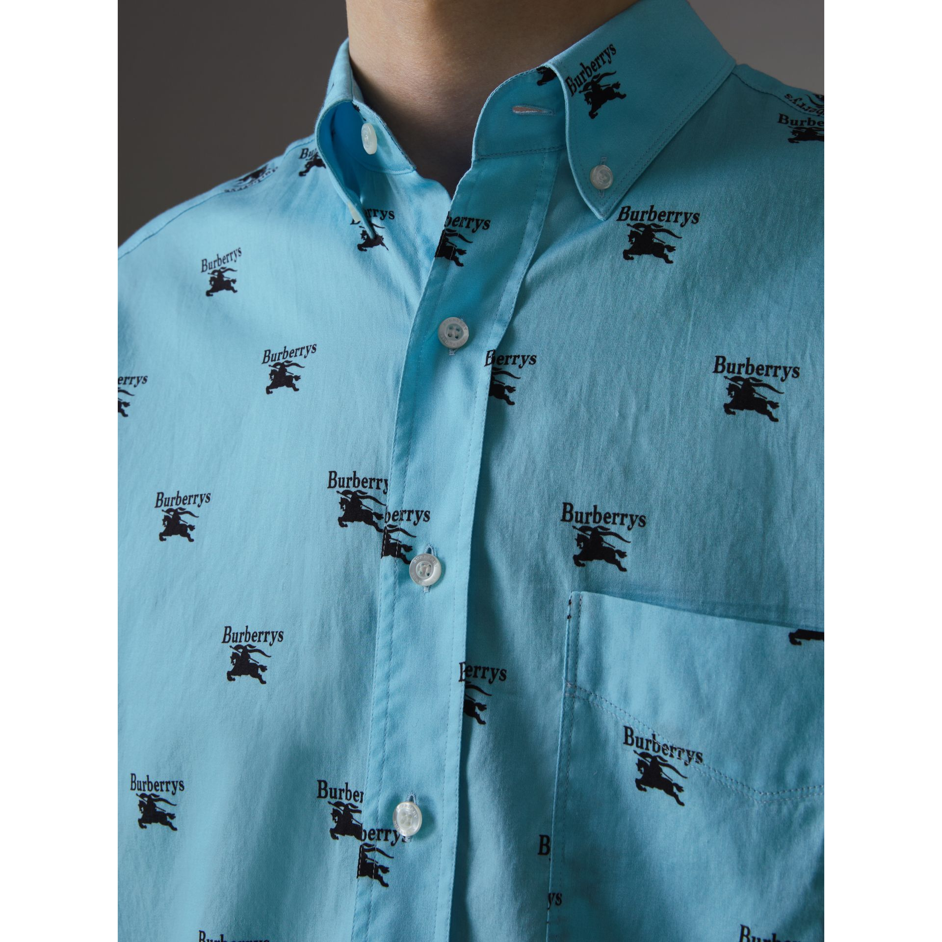 Button-down Collar Logo Print Cotton Shirt in Sky Blue - Men | Burberry Singapore - gallery image 1