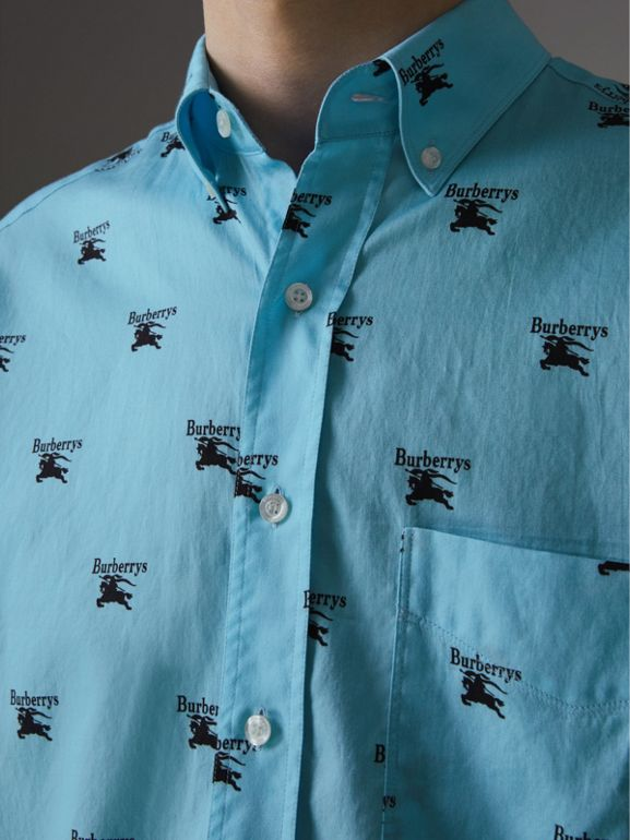 Button-down Collar Logo Print Cotton Shirt in Sky Blue - Men | Burberry United Kingdom - cell image 1