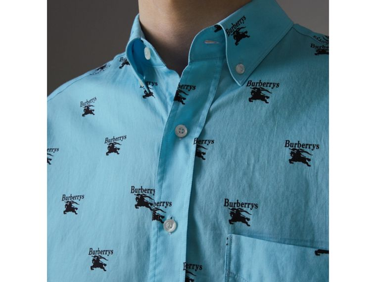 Button-down Collar Logo Print Cotton Shirt in Sky Blue - Men | Burberry - cell image 1