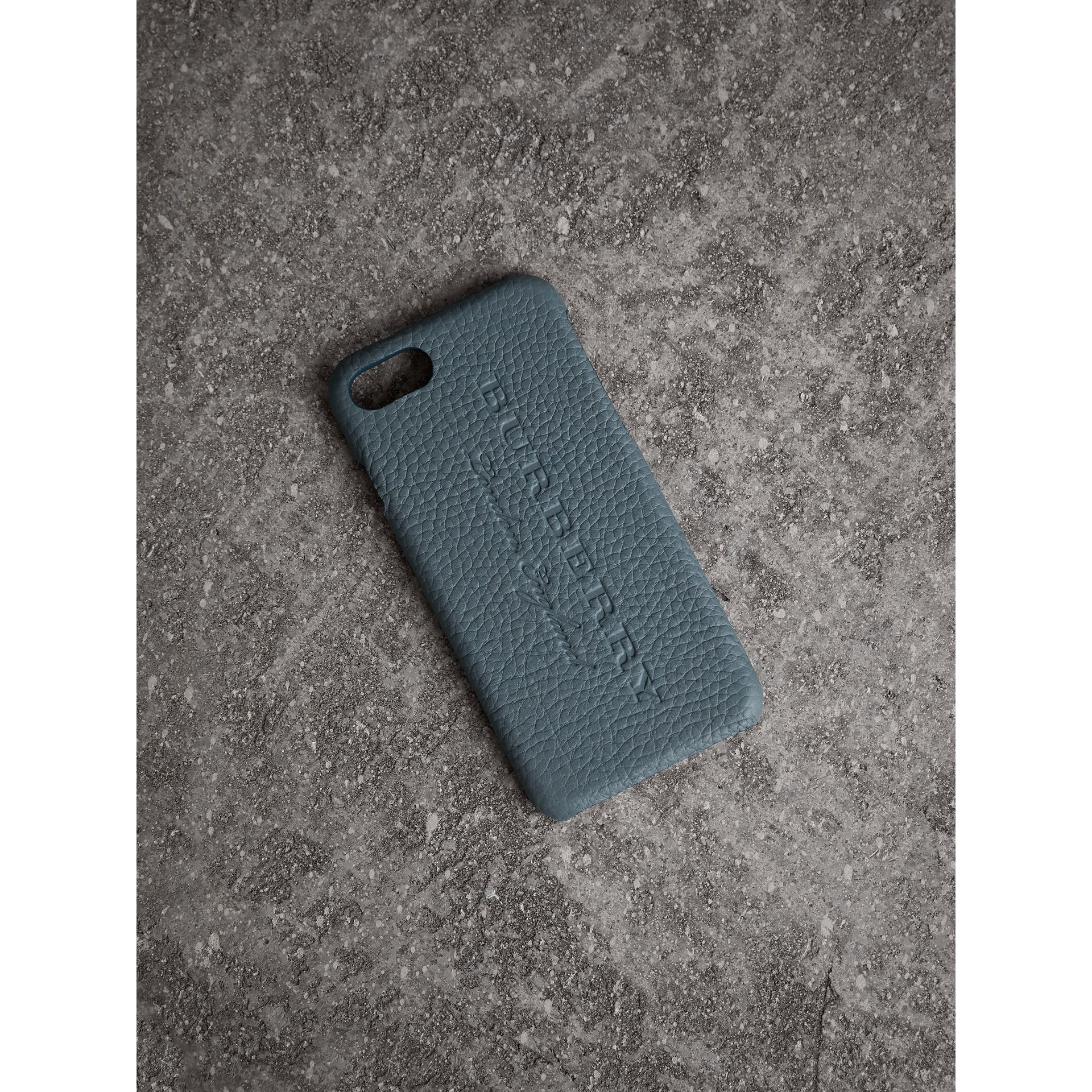London Leather iPhone 7 Case in Dusty Teal Blue | Burberry - gallery image 0
