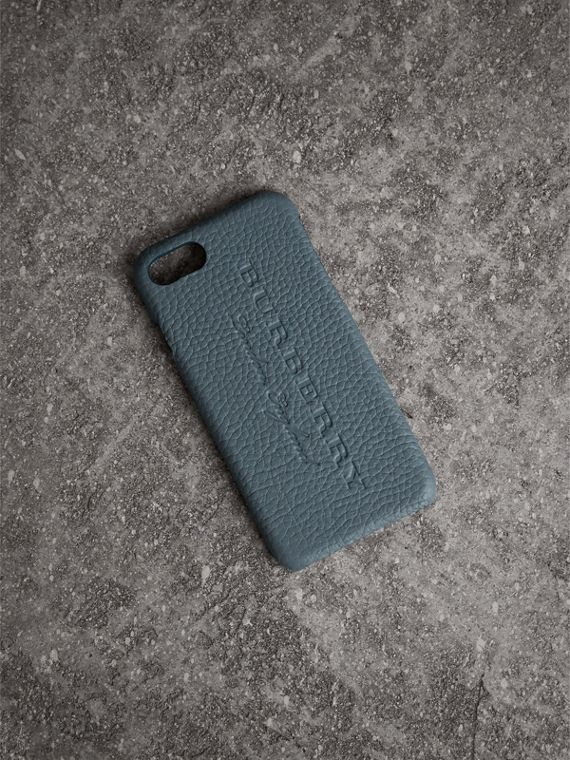 Custodia per iPhone 7 in pelle London (Blu Alzavola Polvere)