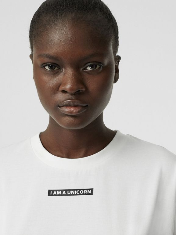Unicorn Print Cotton Oversized T-shirt in White - Women | Burberry - cell image 1