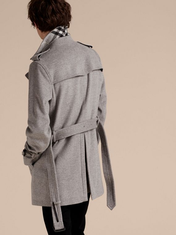 Pale grey melange Wool Cashmere Trench Coat Pale Grey Melange - cell image 2