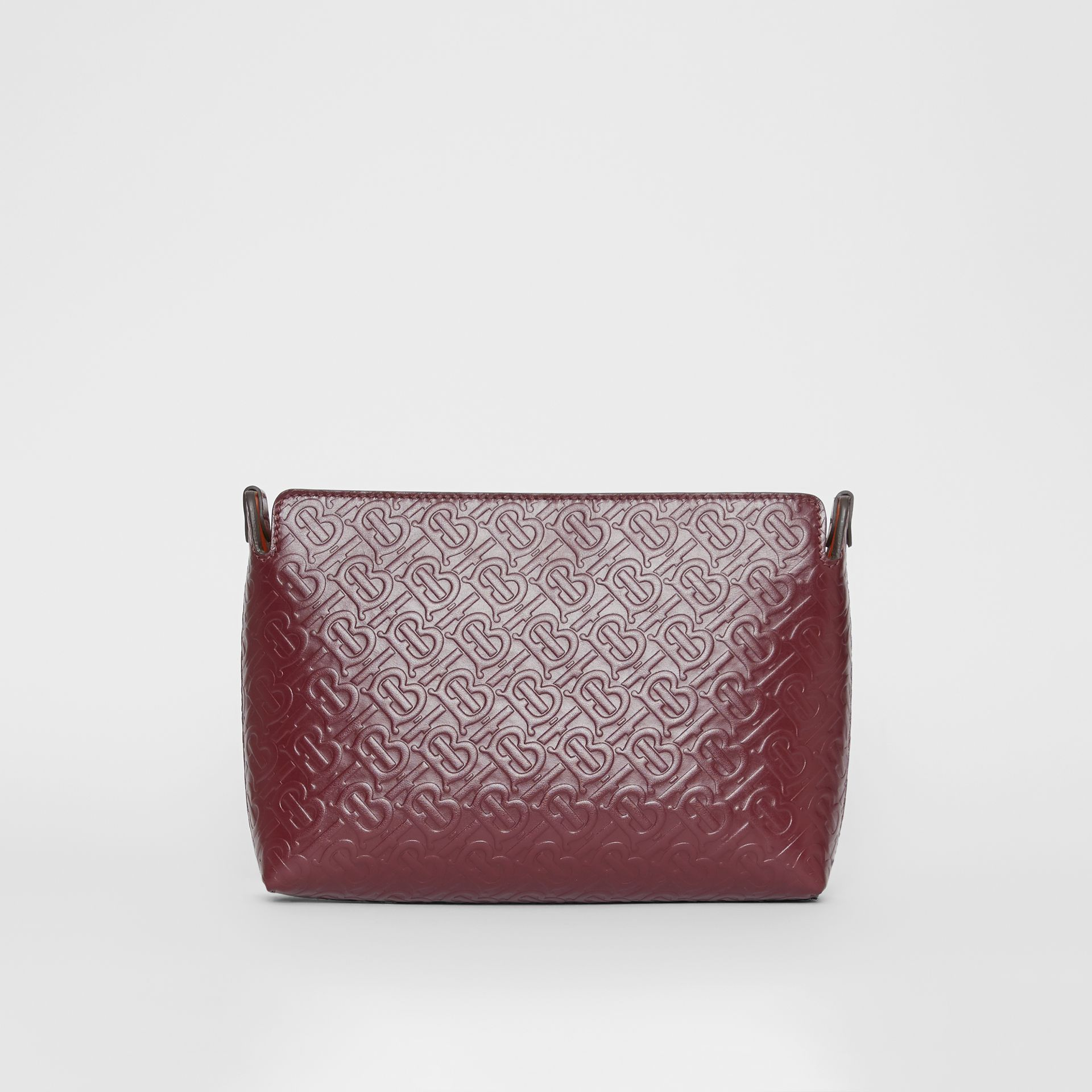 Medium Monogram Leather Clutch in Oxblood - Women | Burberry Australia - gallery image 4