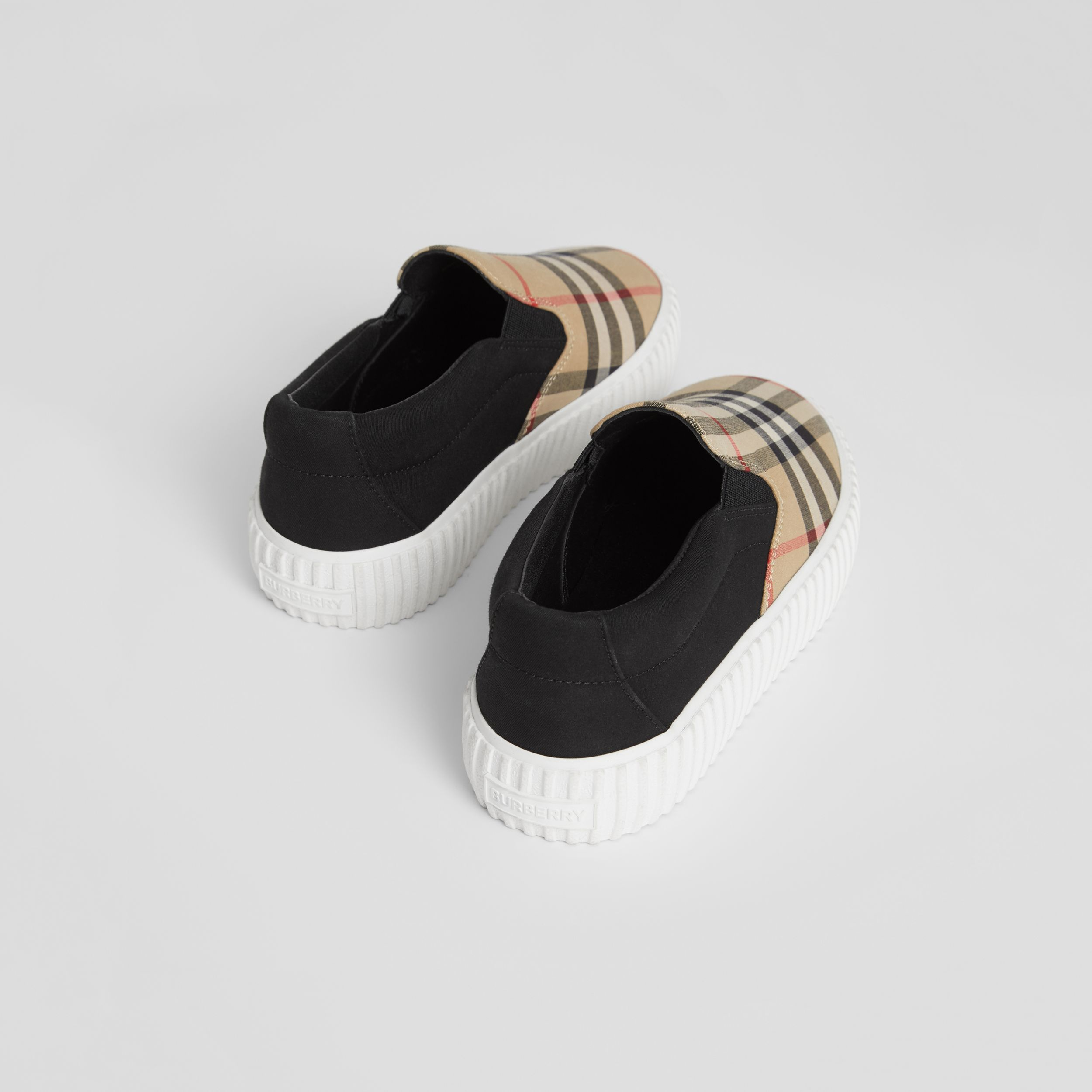 Vintage Check Detail Cotton Slip-on Sneakers in Archive Beige/black - Children | Burberry - 3