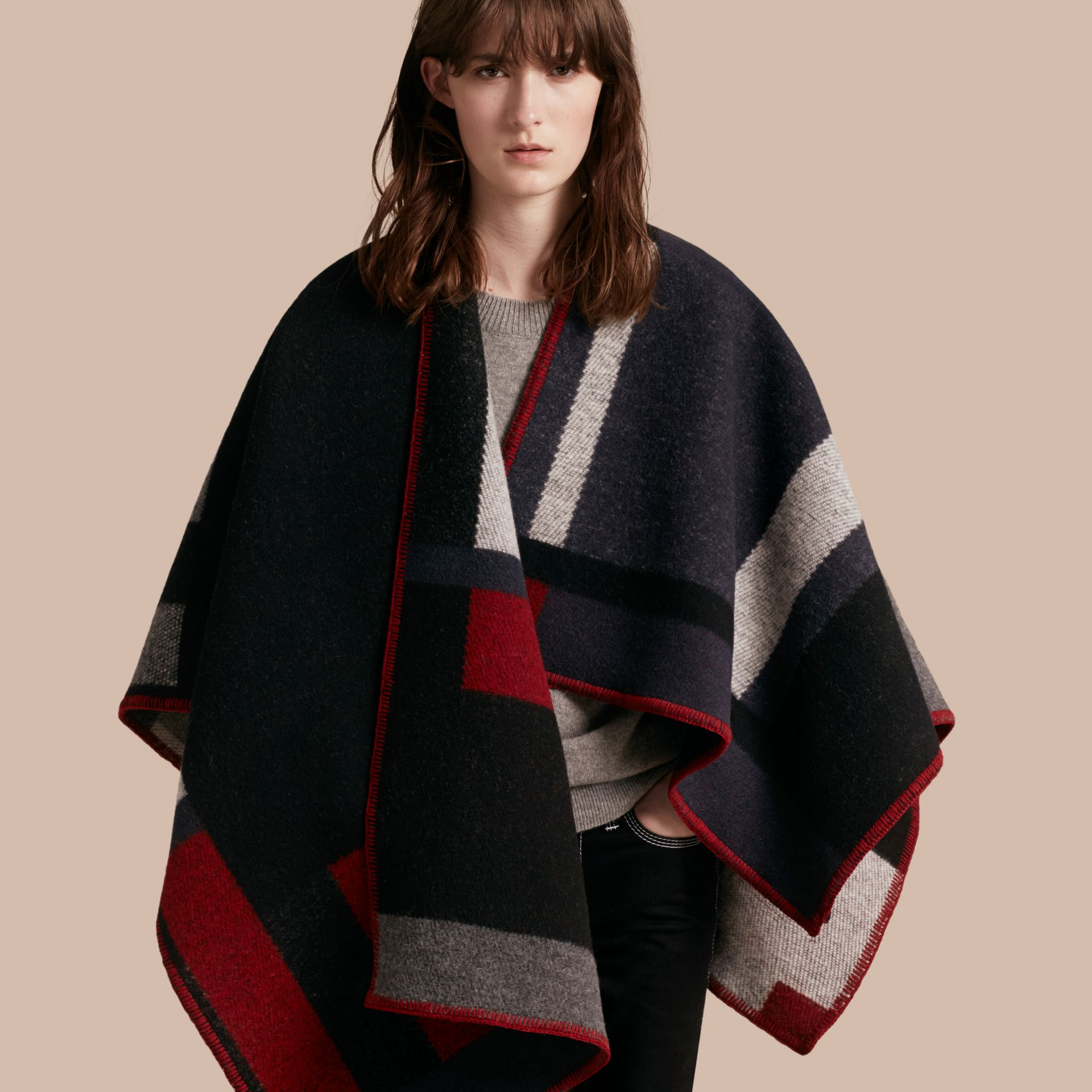 Navy Check Wool Cashmere Poncho Navy - gallery image 1