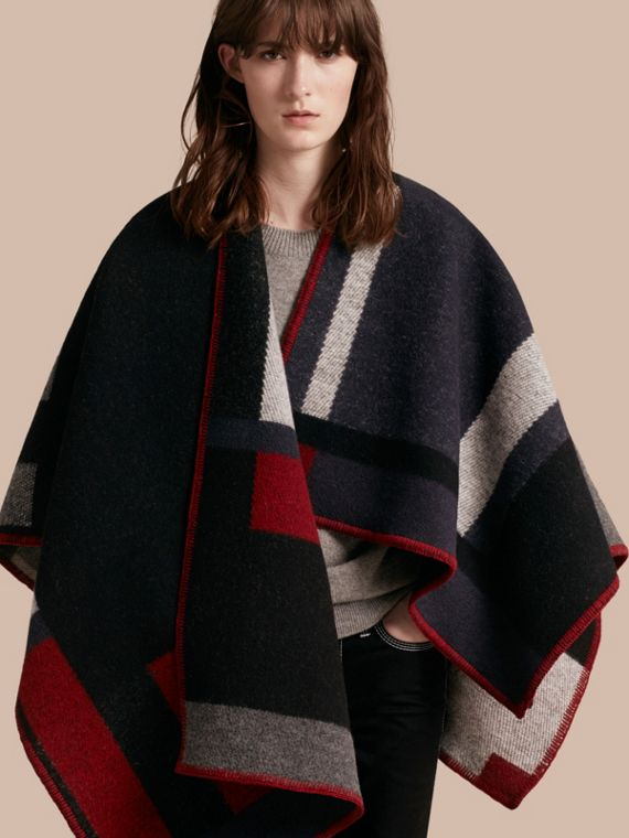 Check Wool Cashmere Poncho