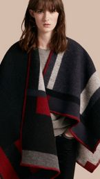 Check Wool Cashmere Poncho