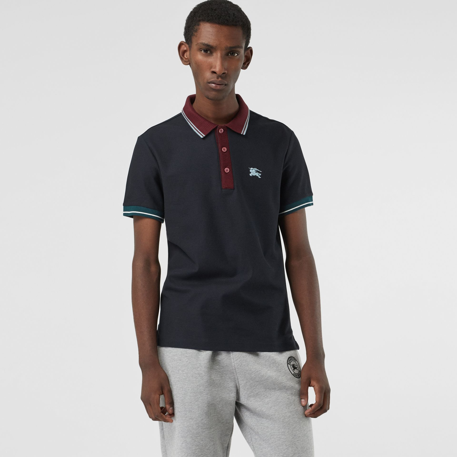 Tipped Cotton Piqué Polo Shirt in Dark Navy - Men | Burberry Canada - gallery image 0