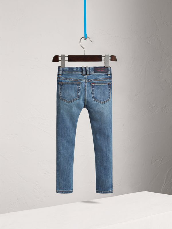 Skinny Fit Stretch Denim Jeans in Mid Indigo - Girl | Burberry - cell image 3