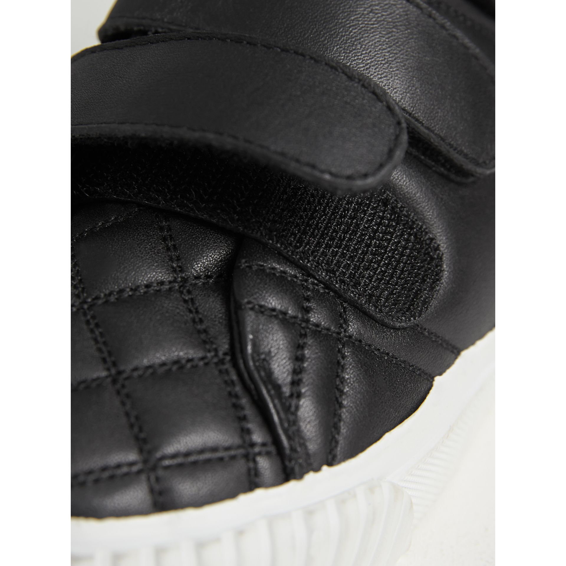 Check-quilted Leather High-top Sneakers in Black - Children | Burberry United States - gallery image 1