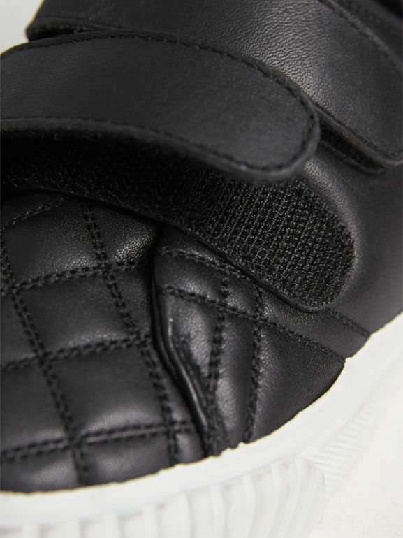 Check-quilted Leather High-top Sneakers in Black - Children | Burberry United States - cell image 1