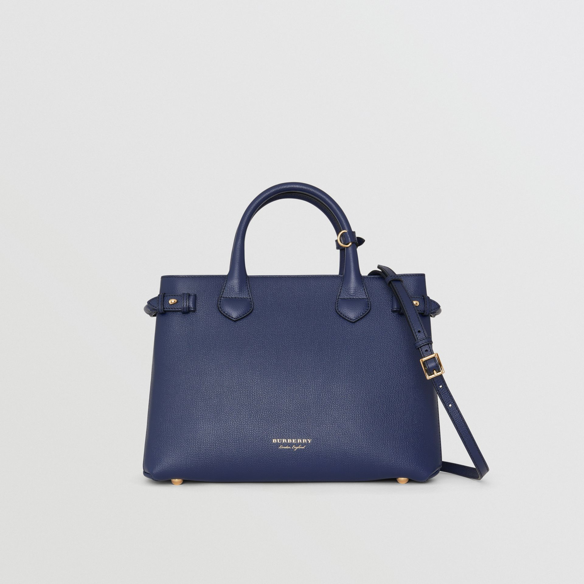 Sac The Banner medium en cuir et coton House check (Bleu Encre) - Femme | Burberry - photo de la galerie 4