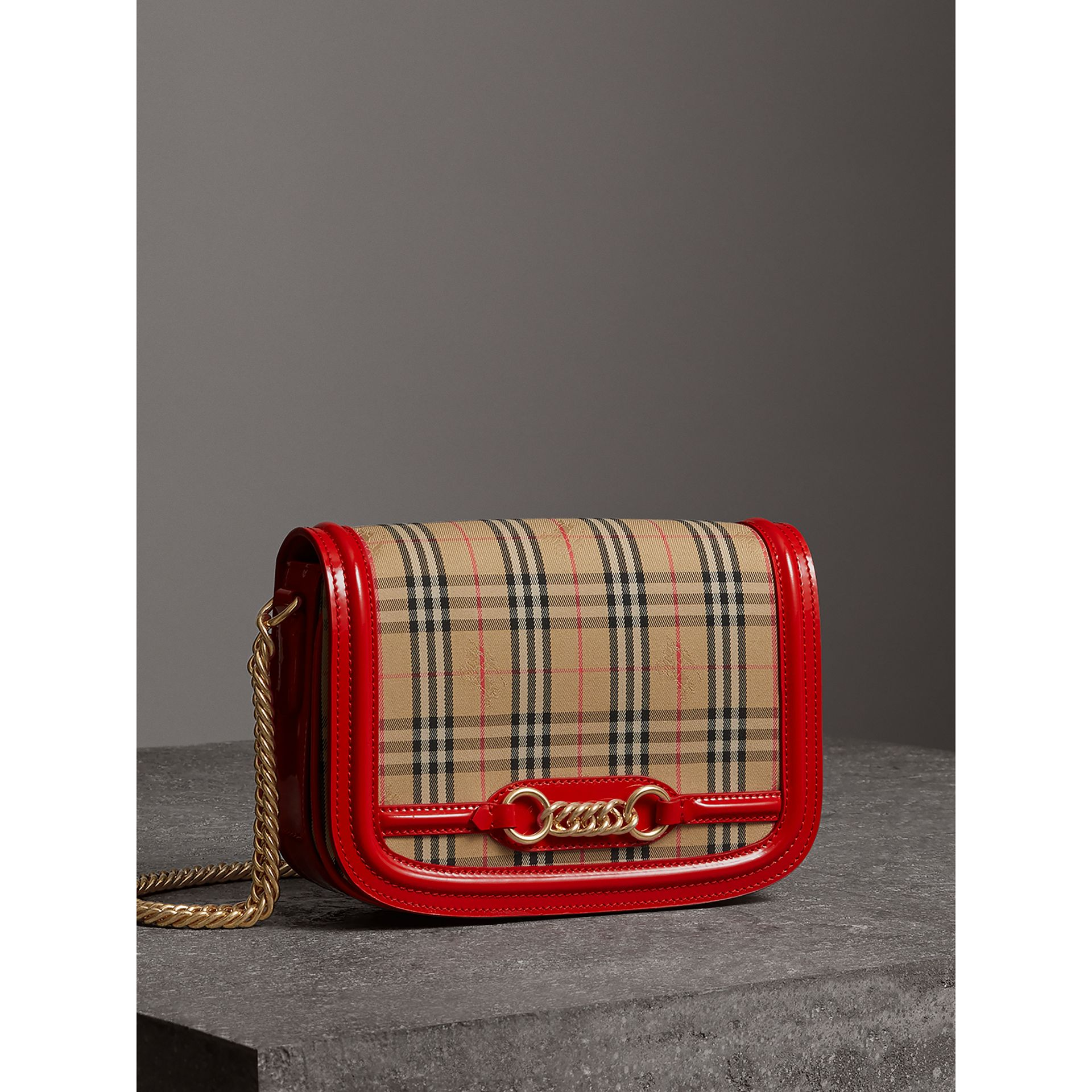 The 1983 Check Link Bag with Patent Trim in Bright Red - Women | Burberry - gallery image 7