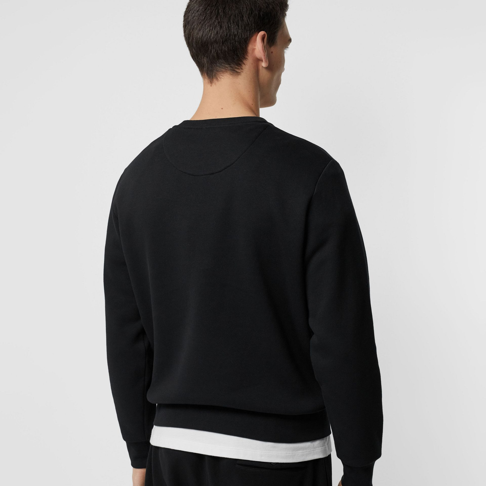Bullion Floral Cotton Blend Sweatshirt in Black - Men | Burberry Australia - gallery image 2