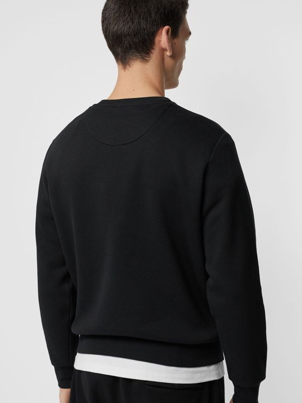 Bullion Floral Cotton Blend Sweatshirt in Black - Men | Burberry Australia - cell image 2