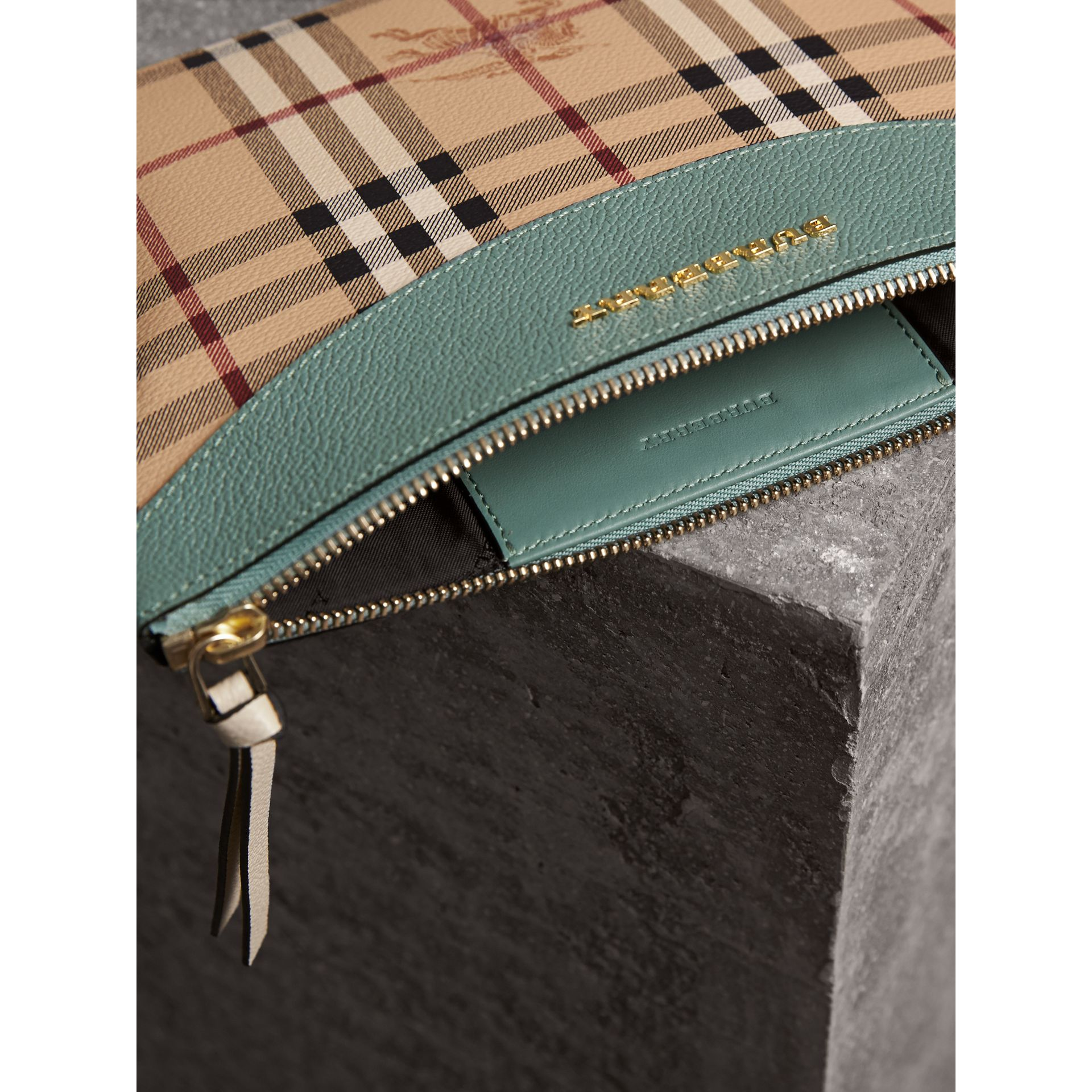 Haymarket Check and Two-tone Leather Clutch Bag in Eucalyptus Green/multicolour - Women | Burberry - gallery image 6