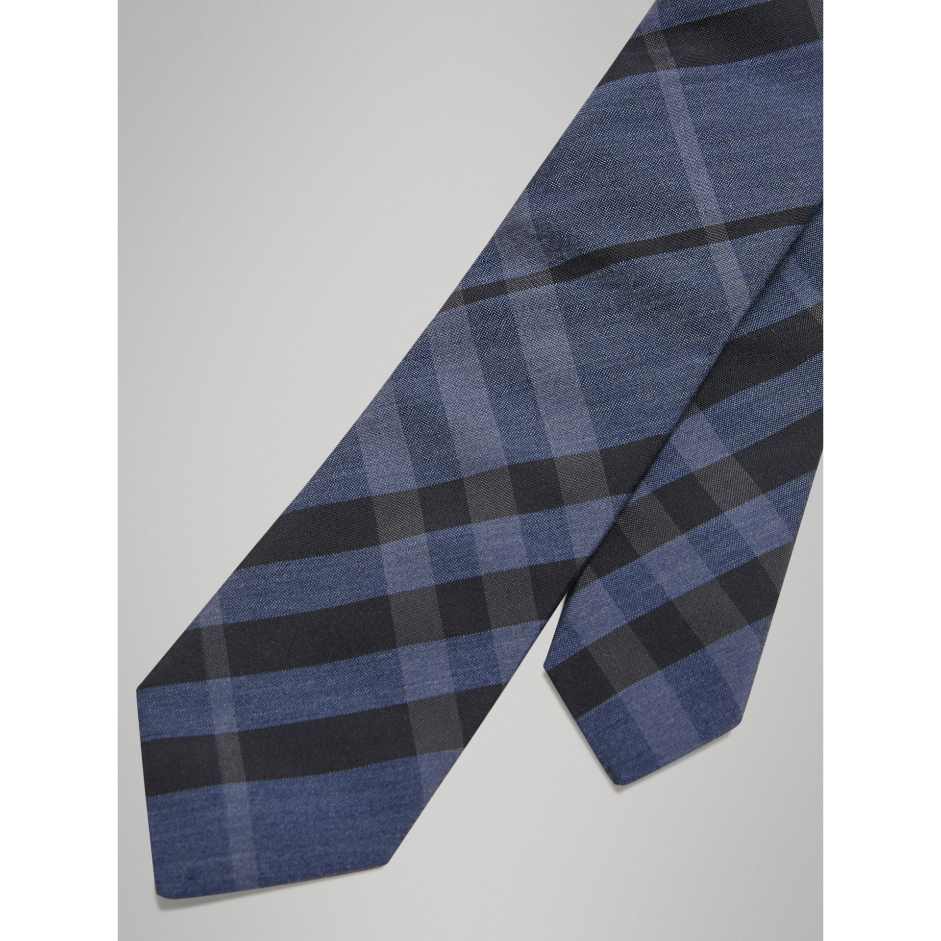 Modern Cut Check Silk Cotton Tie in Dark Mineral Blue - Boy | Burberry - gallery image 1