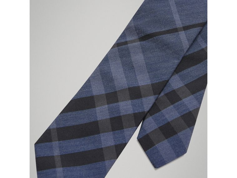Modern Cut Check Silk Cotton Tie in Dark Mineral Blue - Boy | Burberry - cell image 1