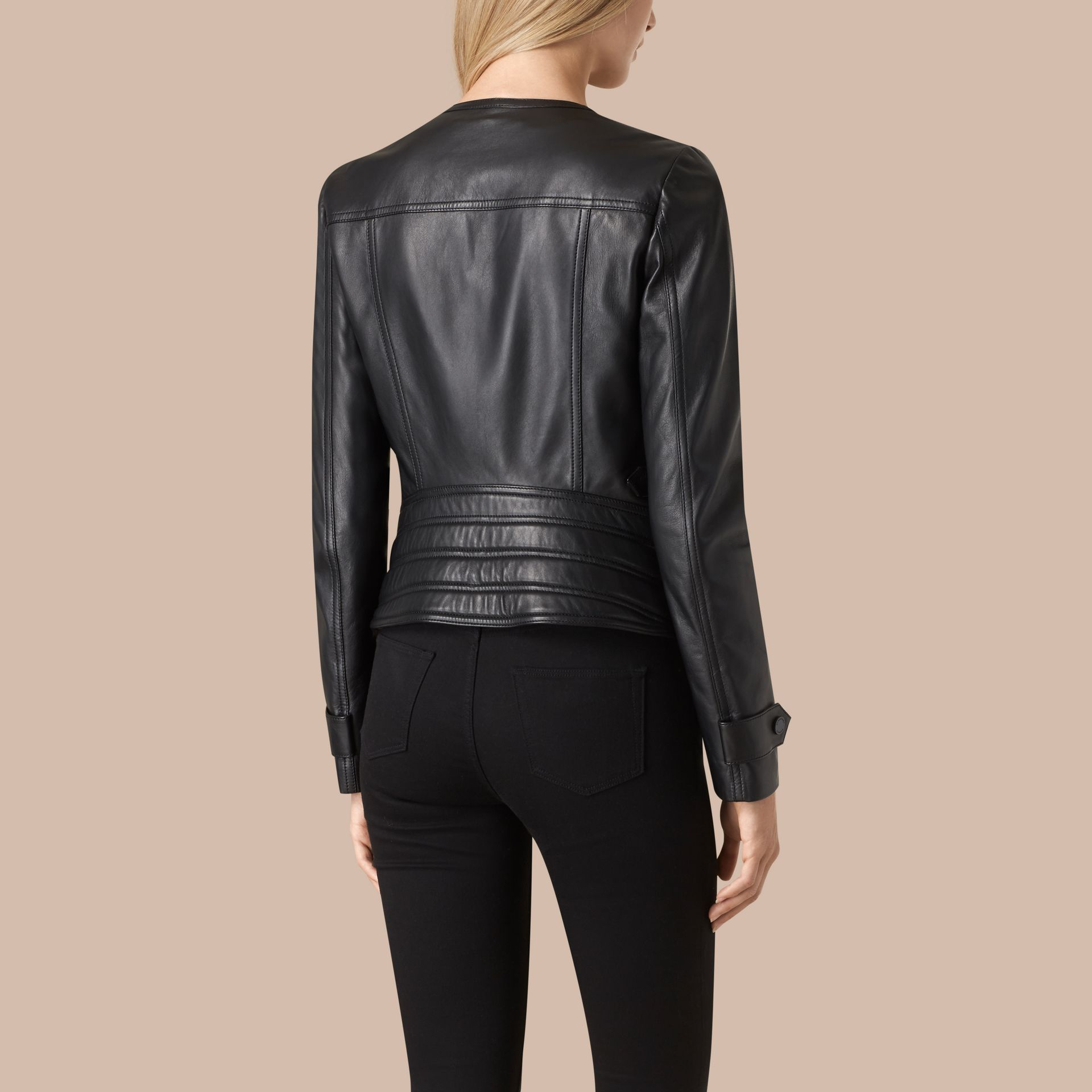 Black Nappa Leather Biker Jacket - gallery image 2