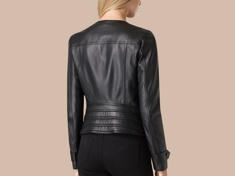 Black Nappa Leather Biker Jacket - cell image 1