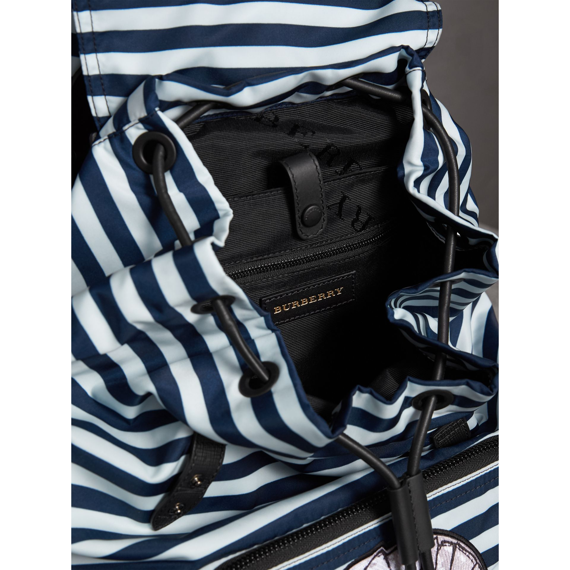 The Large Rucksack in Striped Nylon with Pallas Helmet Motif in Bright Cyan Blue - Men | Burberry Canada - gallery image 5