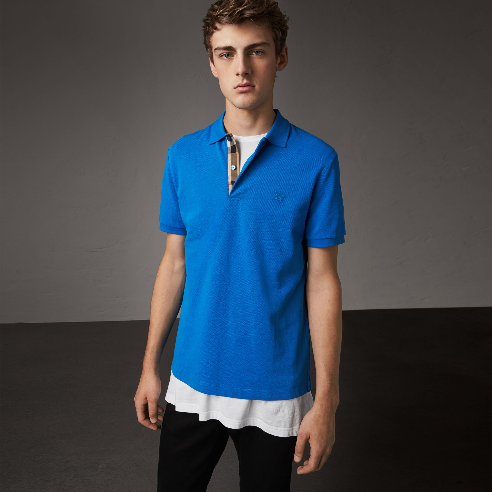 Check Placket Cotton Piqué Polo Shirt in Bright Opal - Men | Burberry - gallery image 0