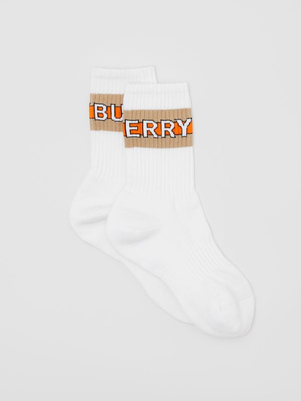 Logo Intarsia Cotton Blend Socks in White | Burberry - cell image 2
