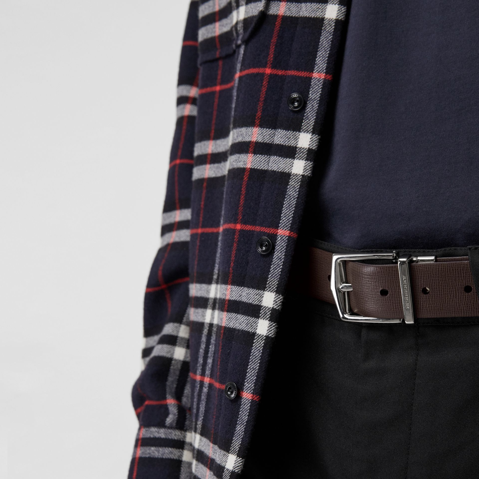 Reversible London Leather Belt in Black/chocolate - Men | Burberry - gallery image 3